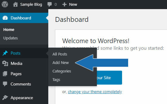Arrows in the image point to creating a new post from the WordPress vertical menu.